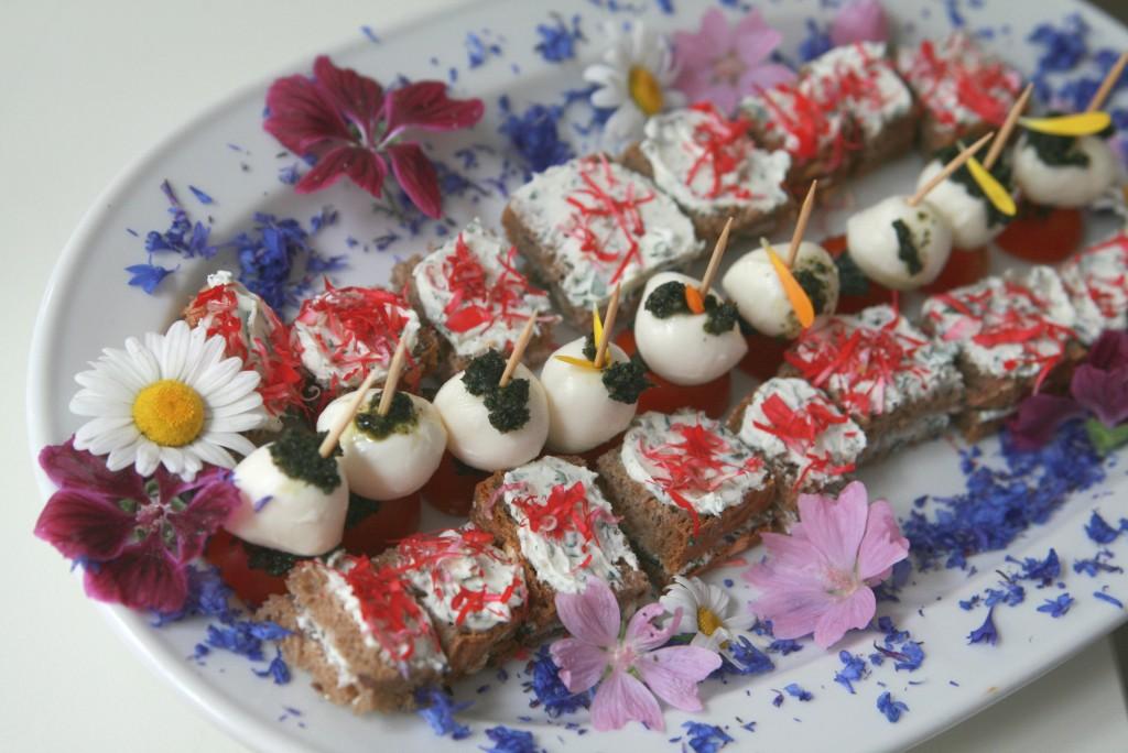 Tomaten-Mozarella-Sticks mit Spitzwegerich-Pesto, Wildkräutertopfen-Brotschnitten mit Rosenblüten-Safran